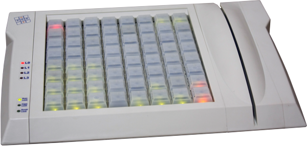 Keyboard LPOS-II-065-RS485 LED with magnetic card readers surround view